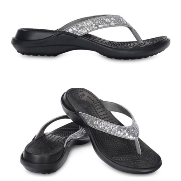 1fba448b5a6f1f CROCS Shoes - Crocs Black Silver Capri V Sequin Flip Flops